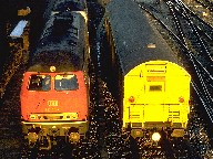 Locomotive and freight car on marshalling yard, Ulm, 1988