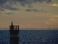 Small lighthouse in harbour, Porto Santo (Madeira's neighbor island), 1997