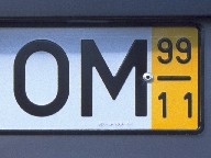 """Meditating"" car (license plate with 'OM'), Island of Madeira, 2002"